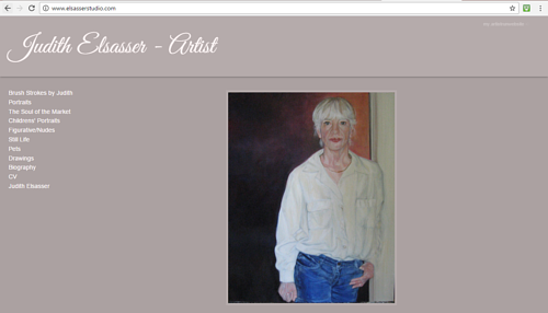 A screen capture of the front page of Judith Elsasser's art website