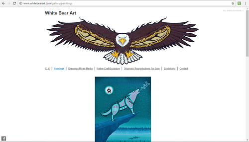 A screen capture of Clayton Samuel King's art website