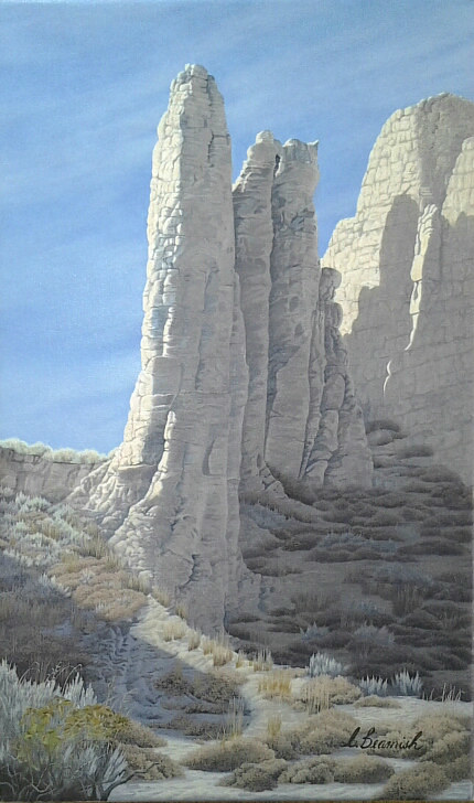 A painting of hoodoos in the British Columbia interior