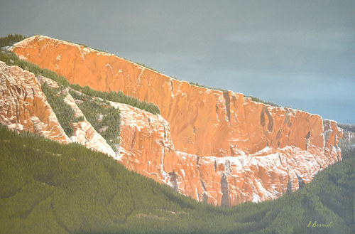 A painting of red stone cliffs rising above the tree line