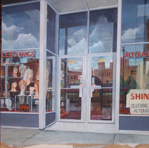A painting of a shop front of a wig store