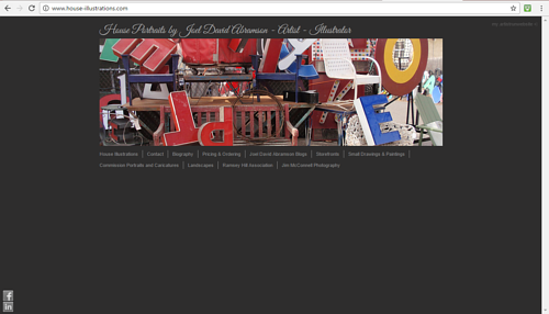 A screen capture of the front page of Joel Abramson's art website