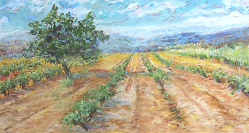 A pastel artwork of a vineyard