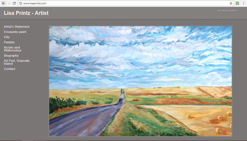 A screen capture of Lisa Printz art website