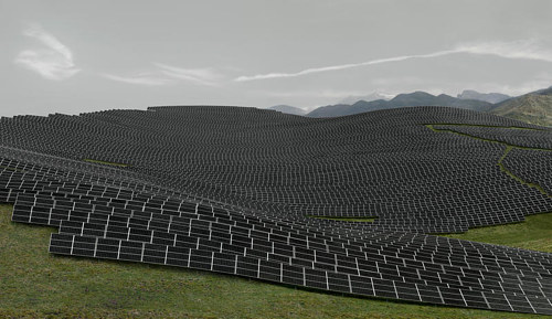 A photograph by Andreas Gursky of Les Mees solar farm