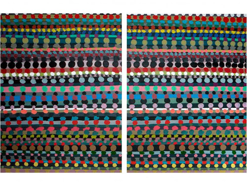 An abstract diptych by Eduardo Infante