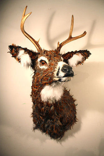 sculpture of a head of a deer