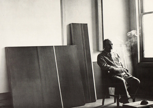 A photograph of Barnett Newman in his studio