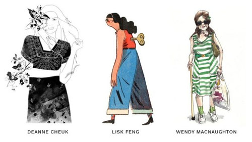 A screen capture of artworks from Women Who Draw