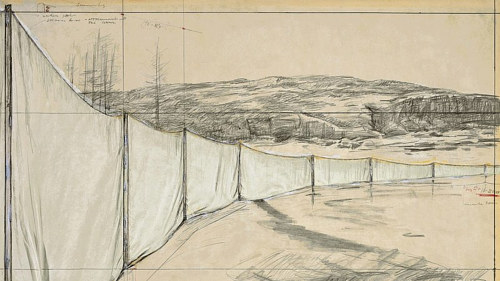 A sketch of a proposed Christo artwork