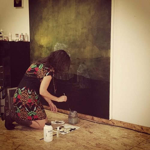 Rebecca working on a painting