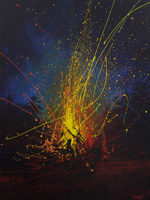 A painting of sparks flying out of a campfire