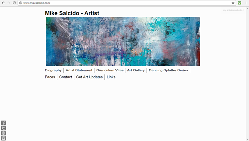 A screen capture of Mike Salcido's art website