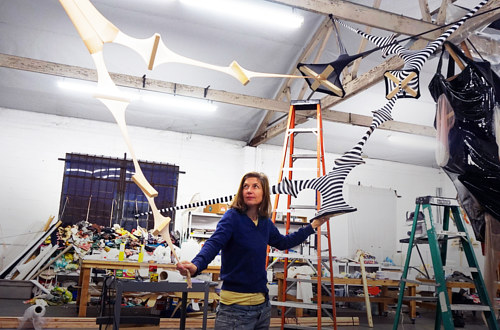A photo of Lara Schnitger in her Los Angeles studio