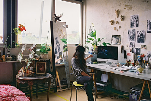 An interior photo of Fia Cielen's studio space.
