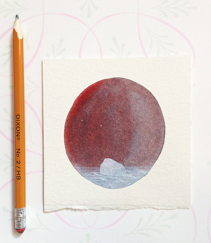 small painting beside a pencil