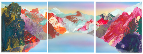 A triptych of colorful abstract mountains