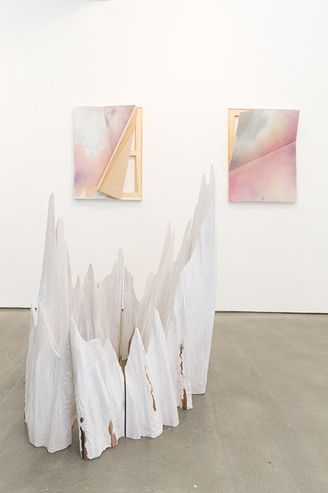 An installation view of three works by John Dante Bianchi