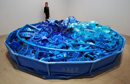 An installation made up of blue plastic objects