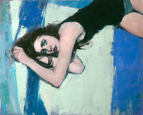 A painting of a young woman lying on a blue floor