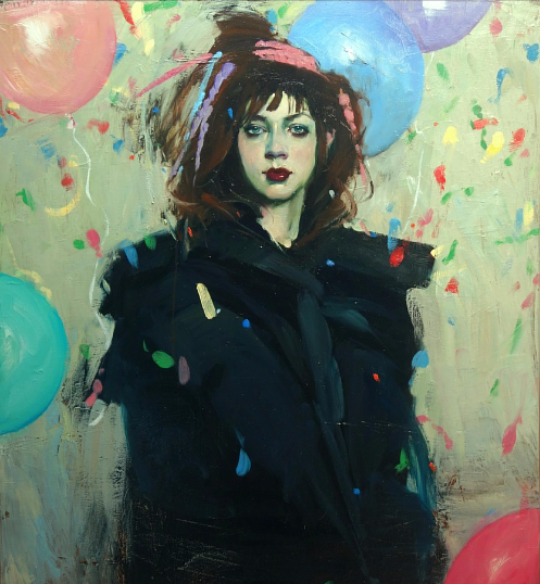 A painting of a young woman in a cloud of balloons and confetti