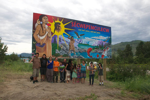 A photo of the finished Neskonlith Mural created in collaboration with Tania Willard