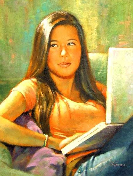 A painting of a young woman with a laptop