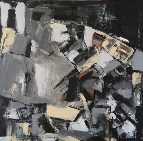 An abstract painting featuring a series of black and grey cubes