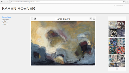 A screen capture of Karen Rovner's art website