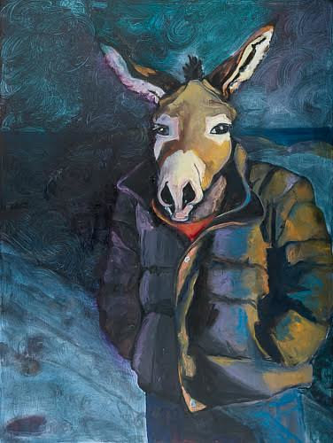An oil painting of a man with a donkey's head