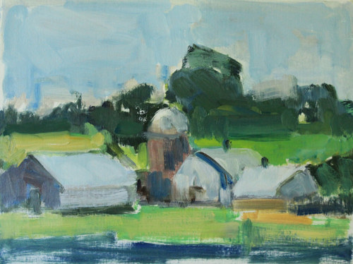 An abstracted painting of a farm on a riverbed