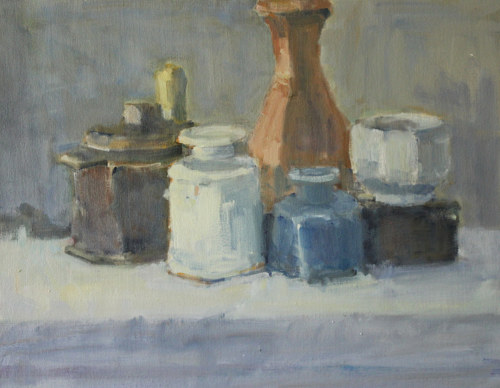 A still life painting of a number of vessels