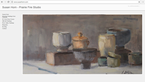 A screen capture of Susan Horn's art website