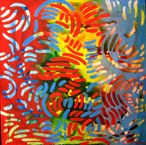 A painting with bright colors and overlapping round elongated forms