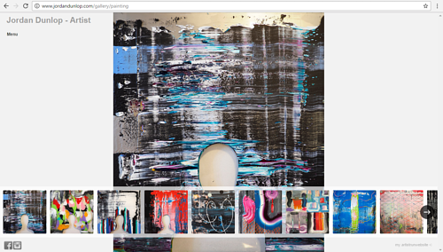 A screen capture of Jordan Dunlop's paintings on his website