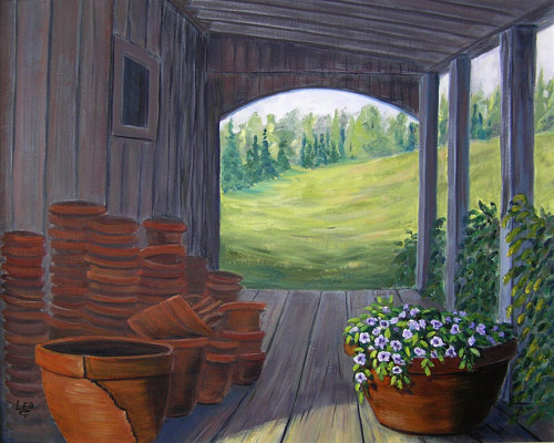 An oil painting of a garden shed filled with pots