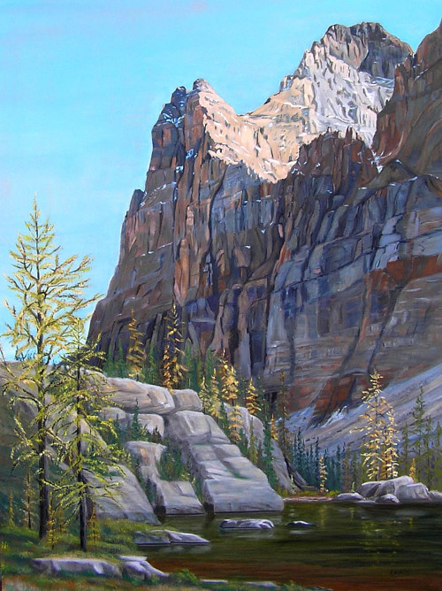 A painting of a peak in Yoho National Park