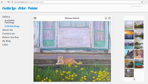 A screen capture of Cecilia Lea's art website