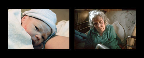 A diptych of two photographs featuring a child and an old woman