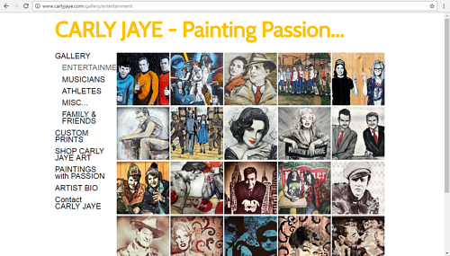 A screen capture of Carly Jaye's online painting gallery