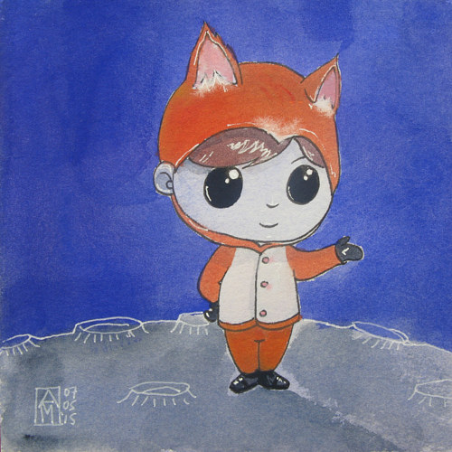 A painting of a boy dressed as a fox on the moon