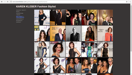 Karen Kleber's online portfolio of red carpet styling
