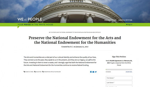 A screen capture of a petition on the White House website