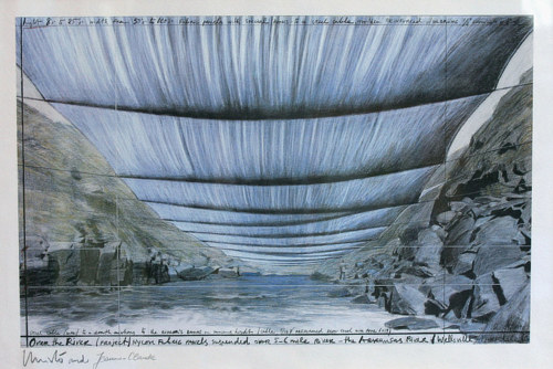 A sketch of an artwork by Christo