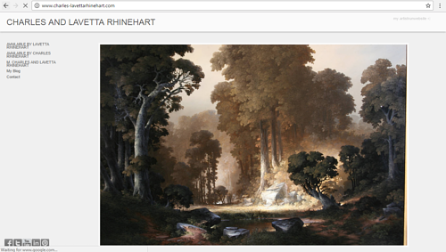 A screen capture of Charles and Lavetta Rhinehart's art website