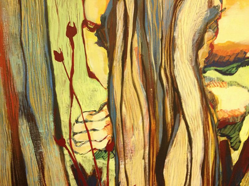 An abstract painting of plant stems and leaves