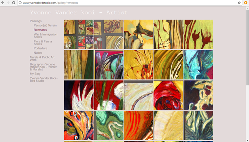 A screen capture of Yvonne Vander Kooi's art website