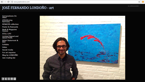 A screen capture of Jose Fernando Londono's art website