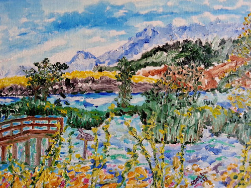A painting of wetlands in the BC interior