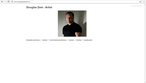 The front page of Douglas Zest's art website